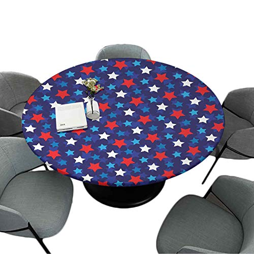 Elastic Edged Tablecloth 70 Inch Round Table Cloth for Christmas Wedding Party American Flag Inspired Patriotic Design with The Stars Image Red White Blue and Dark Blue