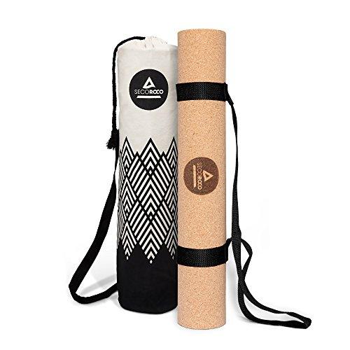 Secoroco Yogamatte Kork - rutschfest - 5mm Stärke - Vegan, nachhaltig und recycelbar - Yoga Matte aus Kork & Kautschuk inklusive Yogatasche aus Leinen
