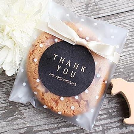 yunko wei/ß Dots Selbstklebende Kunststoff Cookie Staubbeutel f/ür Geschenk geben 200 Beutel plastik 100 Thank You Etiketten 3.94 * 3.94+1.18 Inch wei/ß
