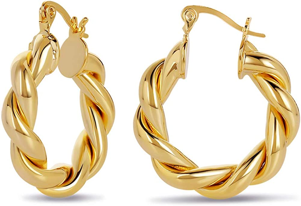 Twisted Chunky Hoop Earrings 14K Gold Plated Dainty Lightweight Hypoallergenic Open Hoops Earrings for Women Gift