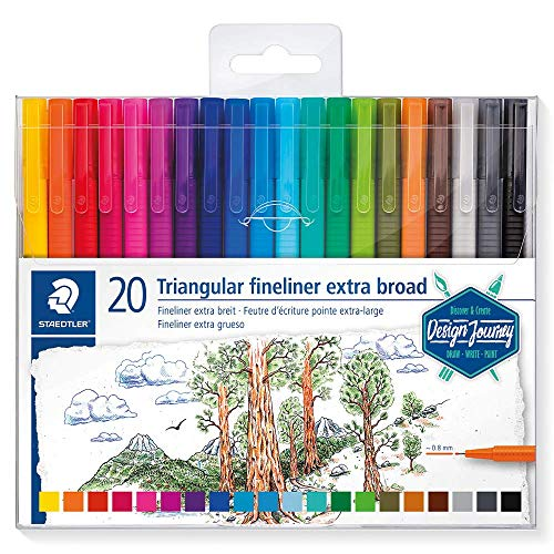 STAEDTLER triplus broadliner, Marker Pen for Drawing, Drafting, Journaling, Pack of 20 Assorted Colors, 338 TB20-C