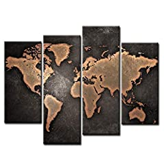 General World Map Black Background Wall Art Painting Pictures Print On Canvas Art The Picture For Home Modern Decoration #1