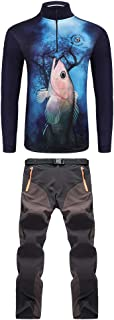 F Fityle 1 Set Long Sleeve Shirt, Sun Protection Clothing, Moisture Wicking Trousers, Fishing Bites Prevent Clothes L