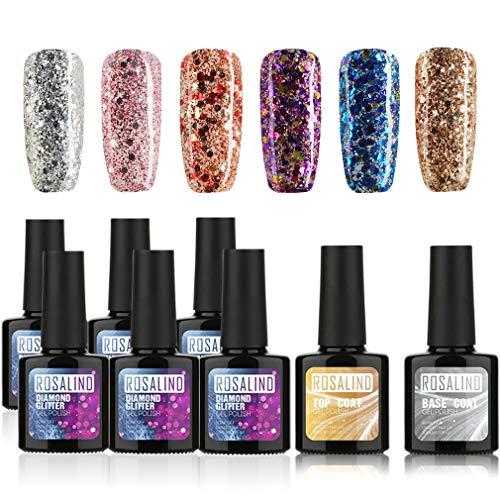 ROSALIND Juego de esmalte de uñas Gel, uñas de gel de destello fino de 6 colores Diamond, secado UV/LED, juegos de capa base GRATIS 10ml