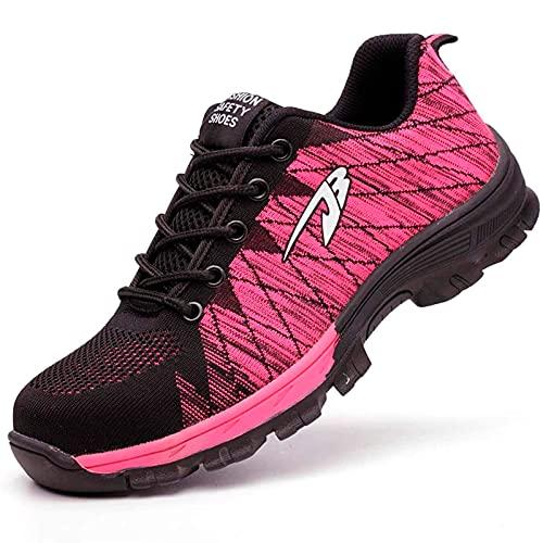 HOUJIA Zapatos de Seguridad Zapatillas de Deporte con Puntera de Acero Hombre Mujer Calzado utilitario de Trabajo Zapatillas Deportivas Transpirables,Ligeras y Antideslizantes