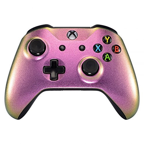 eXtremeRate Red and Gold Chameleon Front Housing Shell Faceplate for Microsoft Xbox One X & One S Controller Model 1708 - Controller NOT Included