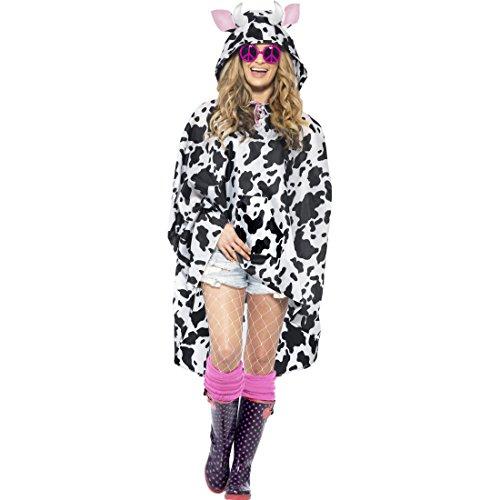 Amakando Kuhkostüm Damen Kuh Kostüm Poncho Tierkostüm Regenponcho Regenmantel Tier Party Regenmantel Bauernhof Faschingskostüm