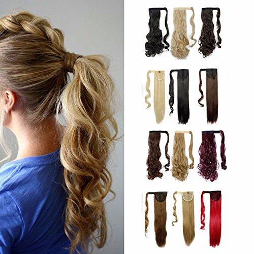S-noilite 43cm frisé postiche extension de cheveux queue de cheval volumineux Diverses couleurs - Brun clair & blond de cendre