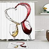 Juego de cortinas y tapetes de ducha de tela,Amor Rojo Vino blanco Merlot Corazón Resumen Comida Bebida Vidrio Bodega,cortinas de baño repelentes al agua con 12 ganchos, alfombras antideslizantes