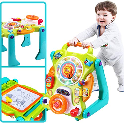 iPlay, iLearn 3 in 1 Baby Sit to Stand Walkers Toys, Kids Activity Center, Toddlers Musical Fun Table, Lights and Sounds, Learning, Birthday Gift for 9, 12, 18 Months, 1, 2 Year Old, Infant, Boy, Girl