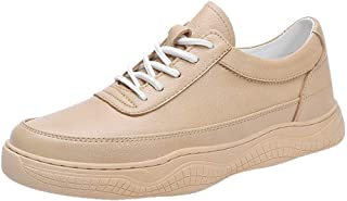 Shangruiqi Casual Sports Shoes for Men Lace Up Fashion Skater Sneakers Classic Low Top Comfortable PU Leather Upper Walking Shoes Round Toe Anti-Wear (Color : Yellow, Size : 8.5 UK)