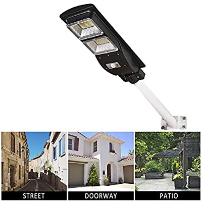 Dailyart LED Solar Street Light Outdoor Lights Solar Powered with Remote Control and Motion Sensor Waterproof Dusk to Dawn Perfect for Yard, Patio, Garden, Street, Basketball Court, 60W, 6000K, IP65