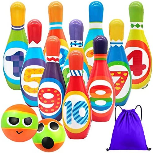 Kids Bowling Set Toddlers Toys 10 Indoor Colorful...
