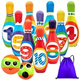 Kids Bowling Set Toddlers Educational Toys 10 Indoor Colorful Soft Foam Pins 2 Bowling Balls Printed with Number Developmental Toys Sport Gift for Baby Boys Girls Age 3 4 5 6 Years Old