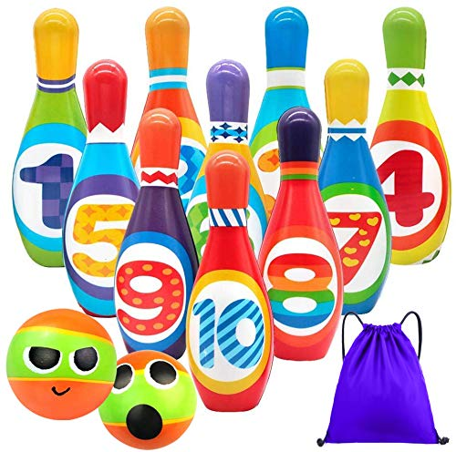 Kids Bowling Set Toddlers Toys 10 Indoor Colorful Soft Foam Pins 2 Bowling Balls Printed with Number Developmental Outdoor Toys Sport Outside Gift for Baby Boys Girls Age 3 4 5 6 Years Old