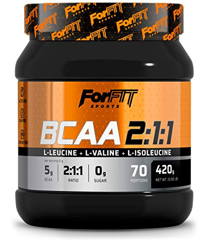 ForFIT Sports BCAA 2:1:1 Branched Chain Amino Acids Powder, 420g - 70 Servings, Orange