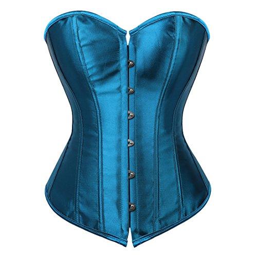 Women's Bustier Corset Top Sexy Lingerie Sets Black Satin Waist Cincher Peacock Blue XX-Large