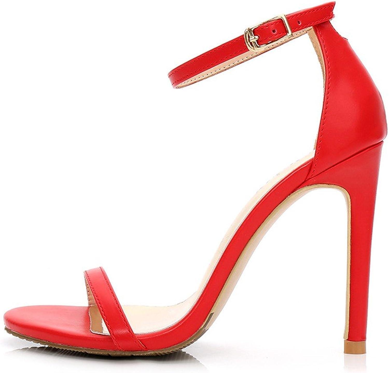 MEIREN sandal Women's Word Buckle with Fine Women's Women's High Heels Black Open Toe Sexy Red 10Cm