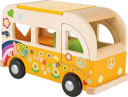 small foot 2744 Spielbus Hippie aus Holz, im Flower-Power-Design, mit zu öffnenden Türen und Dach, ab 18 Monaten