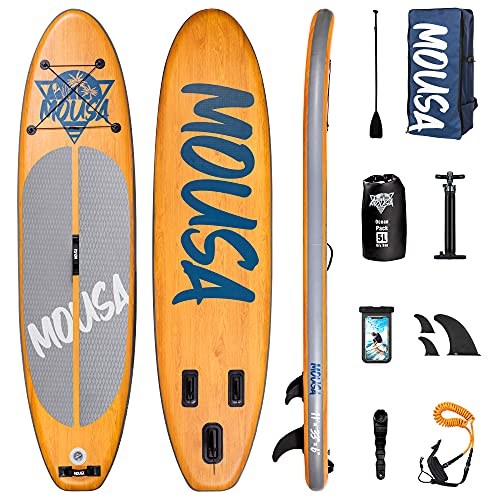 Mousa Inflatable Paddle Board, 11' x 33'' x 6'' Dual Player Paddle Boards for Adults, Floatable Paddle & 3-Fin, Anti Slip Deckpad, Waterproof Backpack, ISUP for Yoga, 20 lbs Light SUP Board