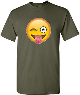 Wink Emoji T-Shirt Glitter Cute Smiley Face Emoticon Pop Culture Mens Tee Shirt
