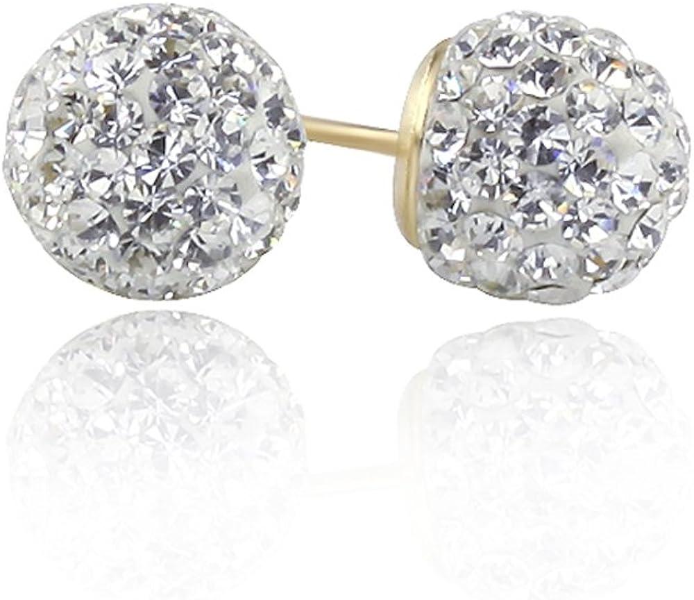 14K Gold Stud Earrings White Crystal Setting Ball Stud Screwback Earrings 4.5m