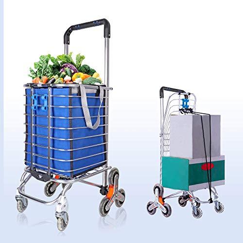 Carrello per la spesa estremamente capiente, dotato di 8 ruote e borsa impermeabile rimovibile, pieghevole, resistente, con telaio in lega di alluminio, dimensione: 48 x 60 x 98 cm