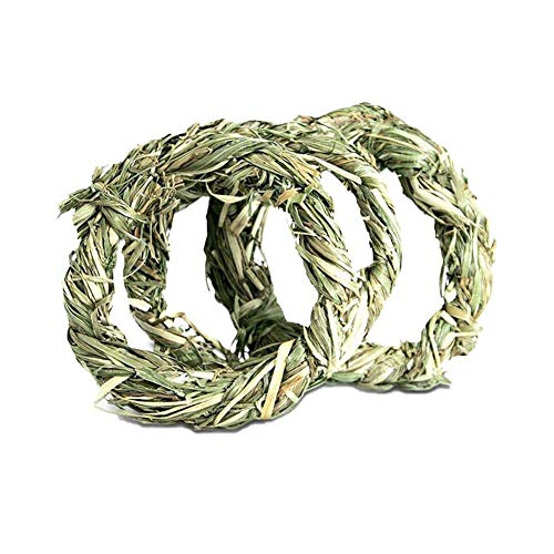Piaoliangxue 3pcs Rabbit Chew Toys/Natural Grass Ring Small Animal Chew Grass Ring/Pet Chewable Chewable Toys/for Rabbits Hamster Guinea Pigs