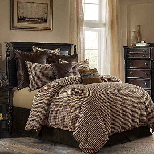 HiEnd Accents Clifton Rustic Tweed Houndstooth Bedding Set, Super King, Brown 3 PC