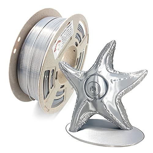 Reprapper Filamento Silk PLA 1.75 1kg para Impresión 3D, Seda PLA con Brillo Nacarado 1.75mm (± 0.03) para Impresora 3D, Plateado