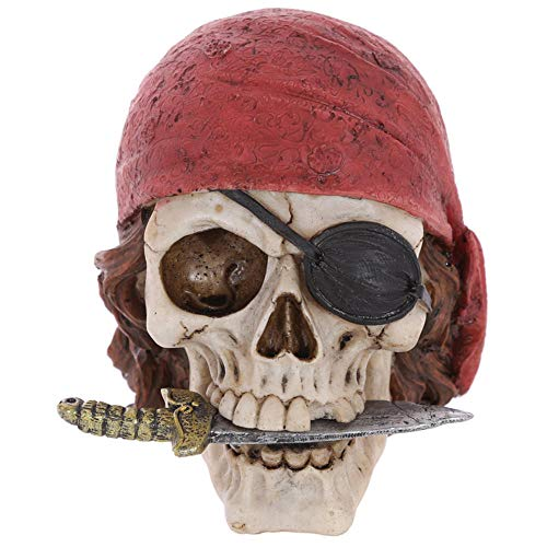 NiQiShangMao Krieger-Piraten-Schädel-Kopf mit rotem Bandana-Figürchen-Statue-Halloween-Skelett-Piraten-Todesskelett-Enthusiasten-Tischplattendekor