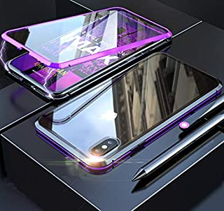 MQman 360 ° Full Protection Front + Back Glass Plate iPhoneX iPhoneXs Case Aluminum Bumper Full Cover Magnet Type Easy Installation Support Wireless Charging (Purple×Black, iPhone X/iPhone Xs)