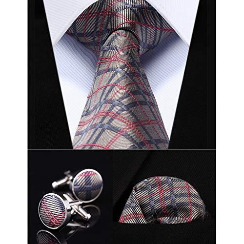 KYDCB Party Hochzeit Classic Einstecktuch Krawatte grau rosa Check 3,4