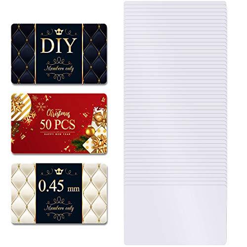 Sublimation Metall Visitenkarten 0,45 mm Dick 3,4 x 2,1 x 0,018 Zoll Weiße Aluminium Blanko Visitenkarte für Benutzer Definierten Gravur Farbe UV Druck (50 Stücke)