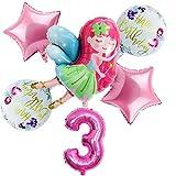 Globo Nuevos 6pcs / Set 32 Pulgadas Número de Rosa Fiesta de cumpleaños Happy Girl Ballon Globo Conjunto decortion (Color : Three Years Old)
