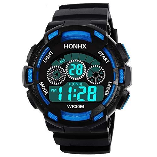 Reloj Militar Digital Led para Hombre, Reloj De Cuarzo De Goma, Relojes Deportivos A Prueba De Agua, Negro, Azul