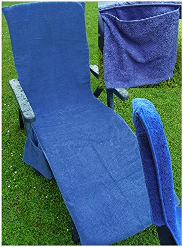 KH-Haushaltshandel Frottee Liege Stuhl Schon Bezug, mit Seitentasche, 190 x 60 cm, für Gartenliege Strandliege, Baumwolle, ÖKOTEX (blau)