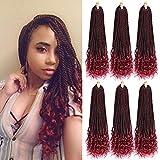 Goddess Senegalese Twist Hair Crochet Braids Curly ends 2S Box braids 18 Inch 6 Packs 30 Strands/Pack Crochet Braids Braiding Hair Extension(1B/99J)
