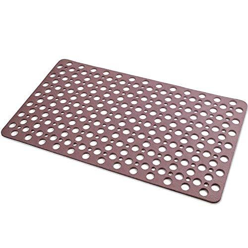 XDgrace Bathtub Mat Non-Slip Bathroom Shower Floor Mat with Suction Cups, Extra Soft Machine Washable Bath Mat with Big Drain Hole 30L x 17W Inch (Brown)