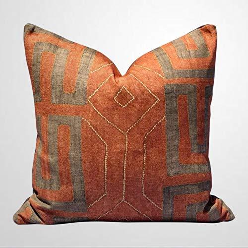 Federa per cuscino in stile bantu africano, colore ruggine e grigio, per cuscino in stile rustico e con motivo ruggine; federa quadrata per cuscino per casa, auto, divano, camera da letto, 45 x 1