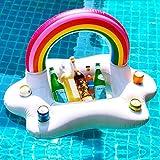 CestMall Inflable Arco Iris Nube Holder Bebida Flotante Ensalada Ensalada Fruta Bar Piscina Flotante Fiesta Verano Playa Lata de Cerveza Botella Botella Cerveza Juguetes de natación for Adultos Niños