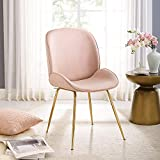 Volans Velvet Chair, Modern Upholstered Makeup Vanity Chair with Gold Legs, Pink