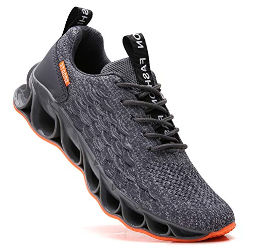 SKDOIUL Trail Running Shoes for Men mesh Breathable Lightweight Youth Big Boys White Black red Fashion Sneakers Gym Workout Sport Outdoor Jogging Shoes Grey Size 10 (A050-Grey-44)