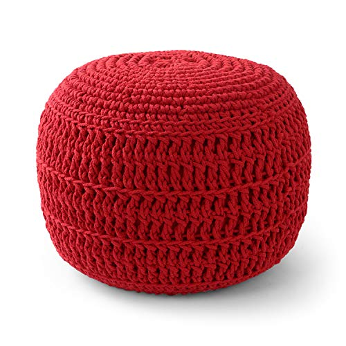 Adeco 20 Inches Knitted Cotton Pouf, Floor Ottoman, Red Color
