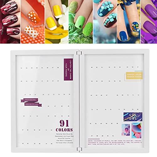 Cartella colori per gel per unghie, design con chiusura magnetica, può ospitare 91 diversi colori di smalto per unghie, facile da trasportare, cartellino per esposizione a colori per unghie