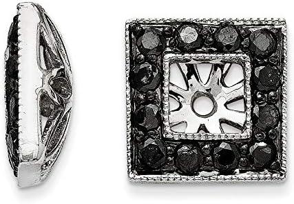 14K White Gold Black Diamond Square Jacket Earrings