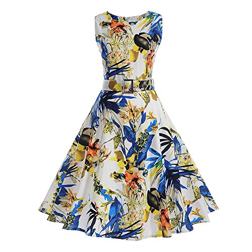 Vimoli Kleider Damen Frauen Weinlese Blumen Hepburn Bodycon ärmellose beiläufige Abend Partei Abschlussball Swing Kleider(Gelb,M)