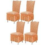 Fundas para sillas de Comedor Seersucker Fundas para sillas de Comedor, Funda elástica para sillas con Falda, Protector elástico para sillas, extraíble, Lavable para Comedor, Sala de Estar, Naranja,