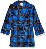 Komar Kids Big Boys Velvet Fleece Robe, Blue Plaid, M