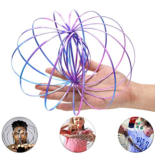 Oulian Magic Flow Ring, 3D Flow Ring Spiral Spring Arm Ring Stainless Steel Kinetic Spring Toys Infinity Arm Slinky Juggle Dance, Funny Outdoor Game Intelligent Toy (Colorful)
